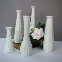 Milk Glass Vases, Wedding Decor, Set of Five, Guest Table Centerpiece Vases, Vintage Inspired Decor, Rustic Wedding