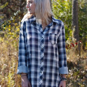 Button down Plaid Boyfriend - Blue