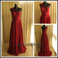 A-line One-shoulder Sweep Train Chiffon Pleated Long Bridesmaid Dress Prom Dress  Evening Dress Party Dress Formal Dress 2013 New Arrival