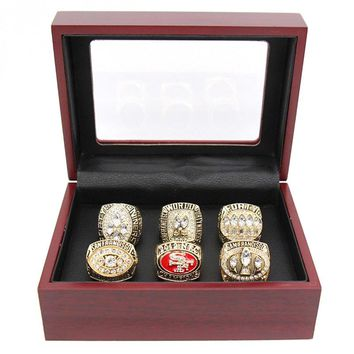 Drop shipping 6pc/set 1981/1984/1988/1989/1994/2012 49ers Championship Rings set With Wooden Box For SF Fans