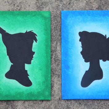 Peter Pan Handmade Silhouette Canvas Painting