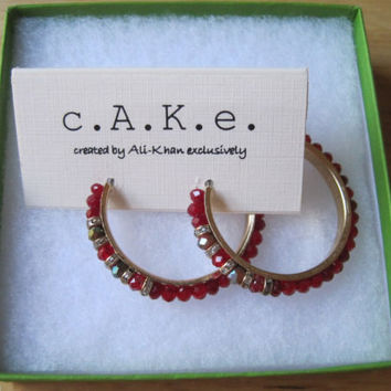 c.A.K.e by Ali Khan~Gold Tone~Red Pave~Faceted Glass Bead~Hoop Earrings~$20~1.5""