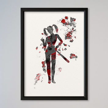 Harley Quinn FRAMED Poster Watercolor Print Wall Decor Fine Art Giclee Home Decor Wall Hanging DC Comics Batman Suicide Squad