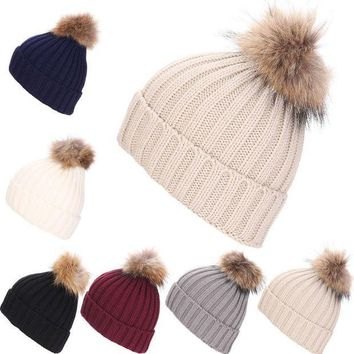 PEAPUNT Women Winter Hat Faux Raccoon Fur Pom Wool Knit Baggy Crochet Beanie Ski Cap Hot-Y107