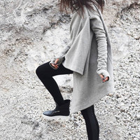 New Light Grey  Hooded Cardigan Cashmere Long Sleeves Coat Extravagant Warm  Asymmetric Hoodie Thumb Hole  Lined Jacket A06090