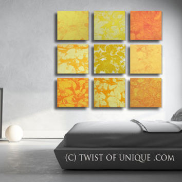 ORIGINAL 9 square -Ready now - Abstract Painting / 45 x 45 Inch Painting / Orange, Yellow, white