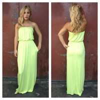 Neon Yellow Strapless Maxi Dress with Pockets