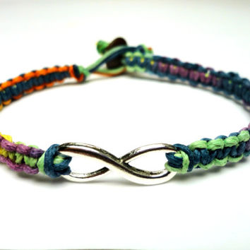 Infinity Charm Bracelet, Rainbow Macrame Hemp Jewelry, Friendship or Couples Bracelet, LGBT - Free North American Shipping