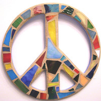 Stained Glass Peace Sign / Peace Sign Wall Art / Peace Sign Wall Decor / Stained Glass / Mosaic Art / Hippie