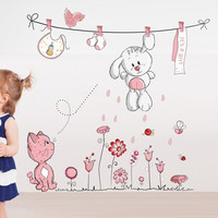 Hang Clothes Cute Rabbit Cat Removable Vinyl Kindergarten Nursery Kids Baby Child Room Home Decor Mural DIY Wall Stickers Decal