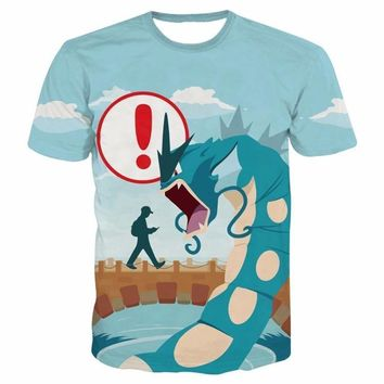 Newest Cartoon  Go t shirts Mens Loading Screen Prints tshirts Hipster 3D t shirt Unisex Funny Dragon Monster Tees TopsKawaii Pokemon go  AT_89_9