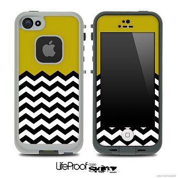 Solid Color Dark Gold and Chevron Pattern Skin for the iPhone 5 or 4/4s LifeProof Case