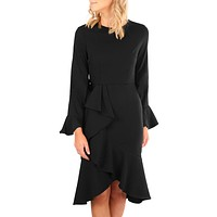Chicloth Black Delicate Ruffle Accent Bell Sleeve Midi Dress