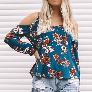 Watch Me Teal Cold Shoulder Top