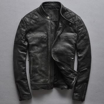 Brand fashion black cowskin motorcycle jacket David Beckham style slim fit vintage genuine leather jacket men leather coats male