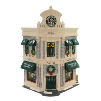 Department 56 House STARBUCKS COFFEE Ceramic Snow Village Christmas 54859