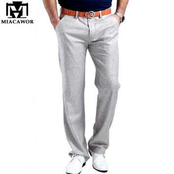 2017 Men Summer Linen Casual Pants Stretch Flax Cotton Casual Trousers Size 29-38 5 colors Men's Clothing