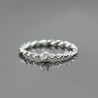 White Topaz Twisted Band Ring - Sterling Silver, 14k Yellow Gold or 14k Palladium White Gold - Promise Ring Anniversary Engagement Rimg