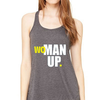 Gym Workout Tank Top (GRAY)  Yellow & White WOMAN Up, Running Workout Shirt. Crossfit Workout Tank. Racerback Gym Tank Top.