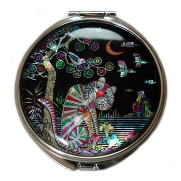 Mother of Pearl Tiger Magpie Magnification Double Compact Cosmetic Makeup Folding Cute Handbag Purse Beauty Pocket Hand Mirror