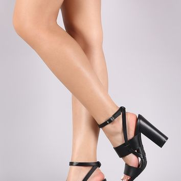 Bamboo Double Band Open Toe Chunky Heel