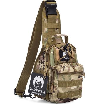 Dragon Ninja Sling Bag for Men and Women Best Tactical Backpack Military Sport Daypack for EDC Carrying Camping Hiking and Travel with FREE Velcro Patch