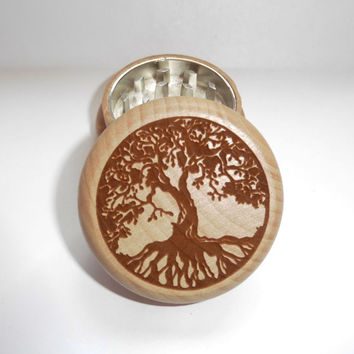 Hand made Wood burned Oak herb grinder  / CNC & Magnetic Inside /  tree of Life Circle