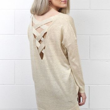 Metallic Weave Back Knit Sweater {Taupe/Gold}