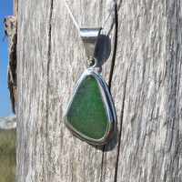 Sea Emerald Green  Sea Glass  Sterling Silver Necklace Red by Wave of Life