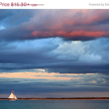 Boat Photography Nantucket Photo Endeavor Sloop Sunset Sailing Sailboat Picture Seascape Coastal Beach Decor Large Wall Art Blue Purple Teal