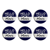 Marc Hello My Name Is Plastic Resin Button Set of 6