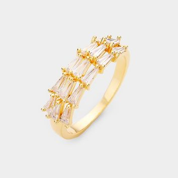 Gold Plated 3rows Triangle Cz Ring
