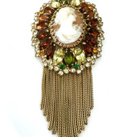 "Hobe"" Shell Cameo and Rhinestone Brooch"