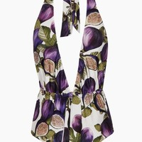 Plunging Halter Neck One Piece Swimsuit - Fig Purple Print