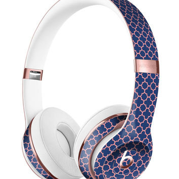 Micro Coral and Navy Quartrefoil Full-Body Skin Kit for the Beats by Dre Solo 3 Wireless Headphones