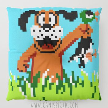 Duck Hunt Floor Pillow Round Square Eighties Cushion Decorative Graphic Print Retro 8 Bit Blue Green Gamer Gaming Dog Home Decor Cute Pouf