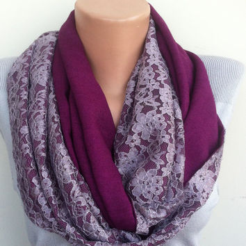 Sheer Lace Infinity Women's Scarf, Purple Scarf, Plum Orchid Purple Lace Scarf, Purple Lace Scarf, Flannel Tweed Infinity Scarf, Scarf Angel