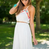 Trim And Proper Dress, White