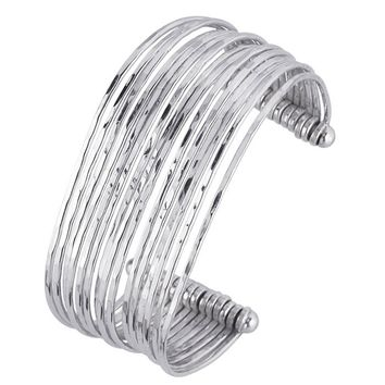 Sterling Silver Wire Hammered Cuff Bracelet 25mm