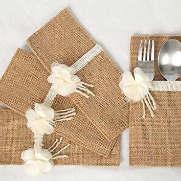 Silverware Holder table decorations wedding (Flower) Set of 4