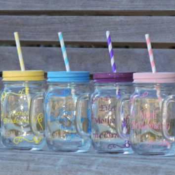 wedding mason mug. bridal party mugs, wedding mason jars, mason mug cup, wedding party favor, glass mason mug, bridesmaid favor, groomsmen