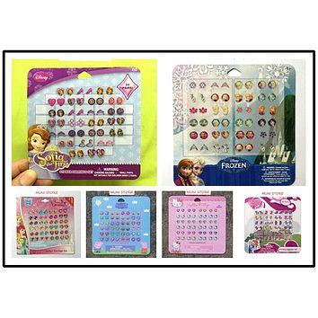 24pairs/set Disney Minion DIY Educational 3D Earring Stickers Cute Cartoon Peppa Hello Kitty Frozen Sofia Stickers For Gifts