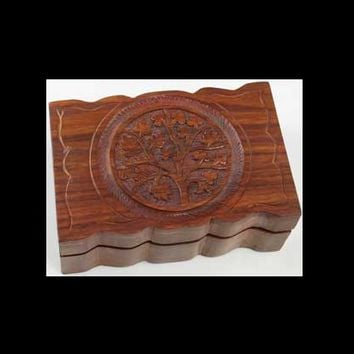 "Tree of Life Wood Carved Herb Box 4"" x 6"""