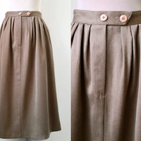 Vintage Midi Skirt - 80's Skirt - Oatmeal Brown Everyday Skirt - Exc Cond