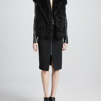 Leather-Sleeve Fur Coat & Front-Zip Crepe Dress