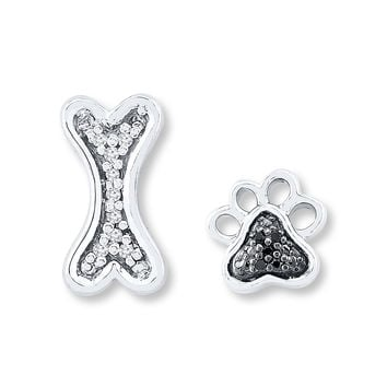 Dog Bone/Paw Earrings 1/20 ct tw Diamonds Sterling Silver