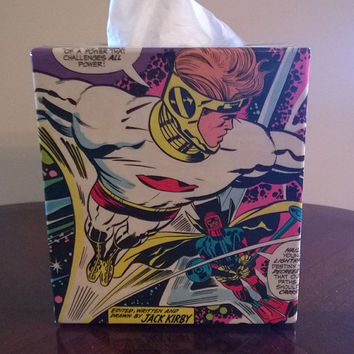 New Gods comic book decoupage tissue box cover