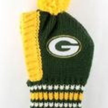 NFL Licensed Green Bay Packers Knit Pet Pom Beanie Hat (Small up to 20lbs)