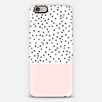 Pastel pink black watercolor polka dots pattern iPhone 6 case by Pink Water | Casetify