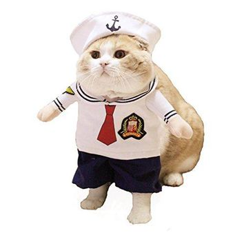 Dog Sailor Costume Navy Suit with Hat Halloween Christmas Pet Costumes for Puppy and Cat (M)